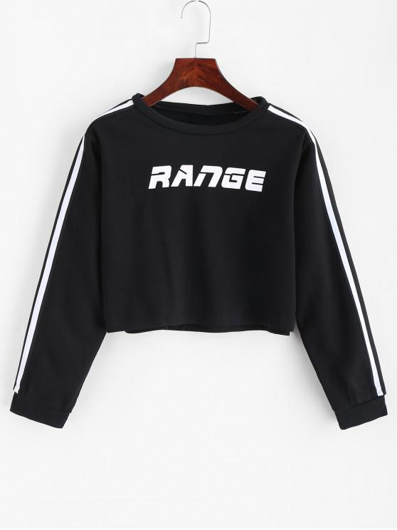 online Range Graphic Stripes Panel Cropped Sweatshirt - BLACK M