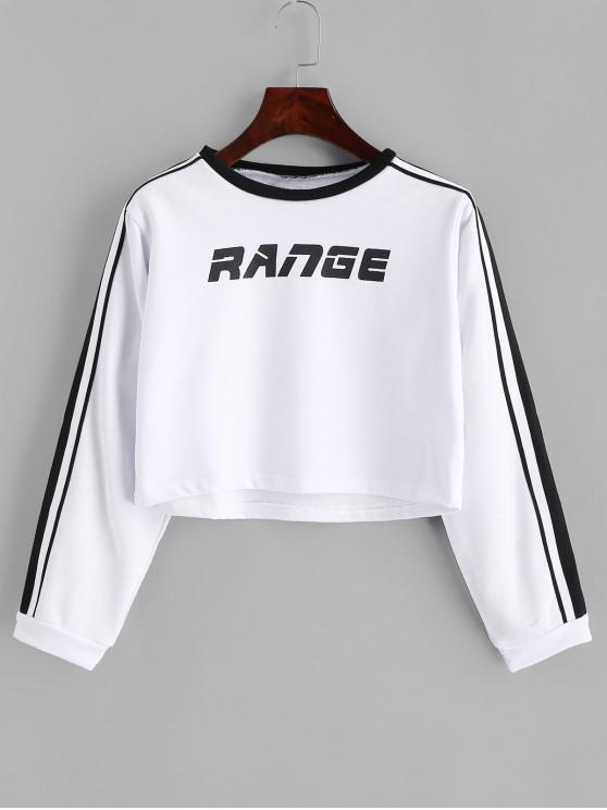 sale Range Graphic Stripes Panel Cropped Sweatshirt - WHITE M