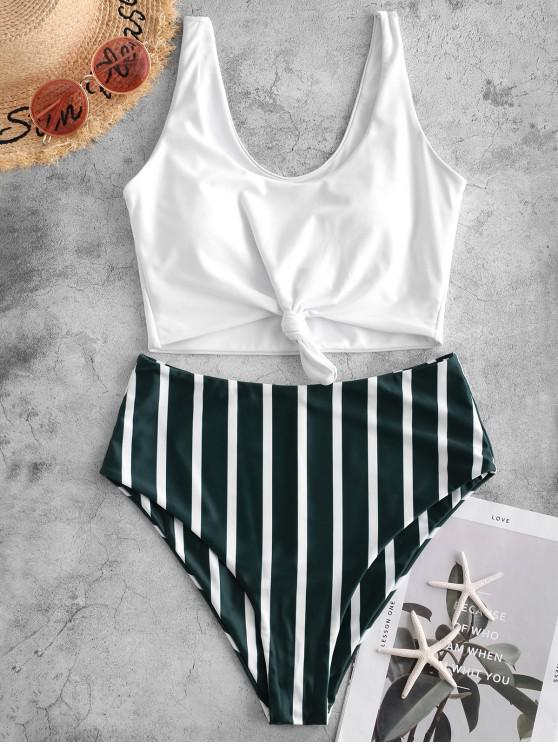 affordable ZAFUL Knot Stripe Tankini Swimsuit - DARK FOREST GREEN XL