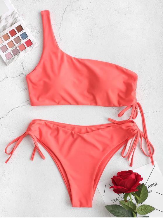 Bañador de bikini con lazo anudado y corte alto de un hombro ZAFUL - Rojo de Valentín S