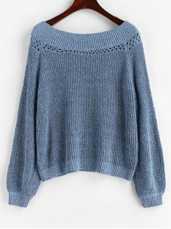 Suéter de manga raglán sólido - Azul S