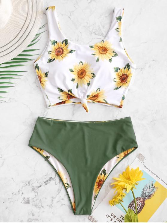 ZAFUL عقدة عباد الشمس عكسها تانكيني ملابس السباحة - التمويه الأخضر L