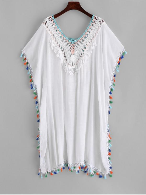 outfit Tassels Crochet Panel Beach Kaftan Dress - WHITE ONE SIZE