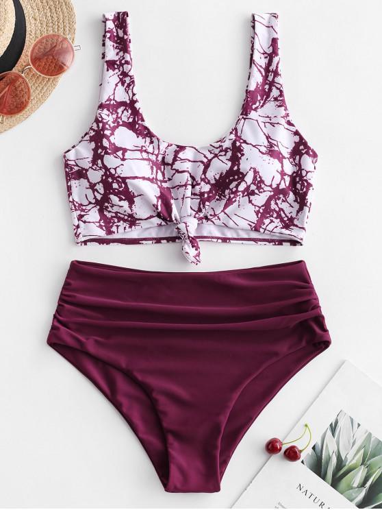buy ZAFUL Marble Print Knotted Tummy Control Tankini Swimwear - MULTI-B L