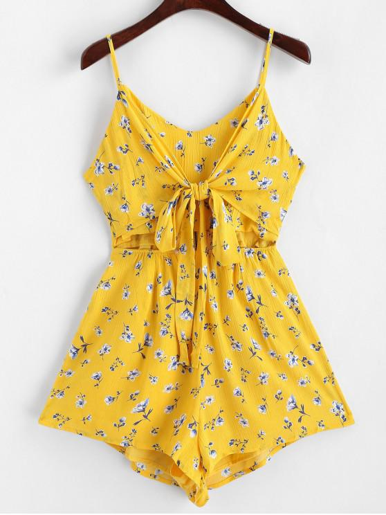 outfits Smock Back Floral Tie Front Cut Out Romper - YELLOW S