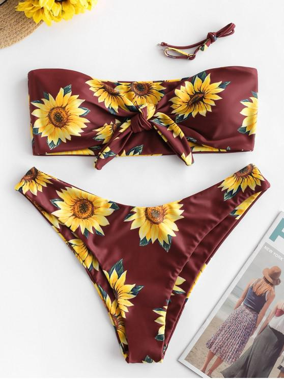 Bikini con motivo girasole ZAFUL annodato - Mattone Fuoco L