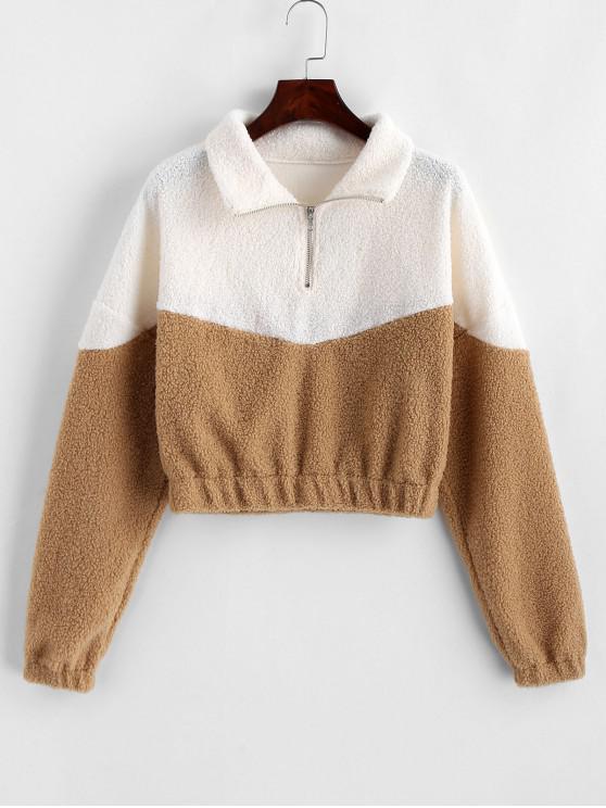 fancy Two Tone Half Zip Teddy Sweatshirt - BROWN SUGAR M