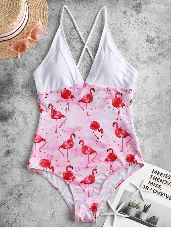 fashion ZAFUL Flamingo Tie Dye Criss Cross One-piece Swimsuit - MULTI-A M