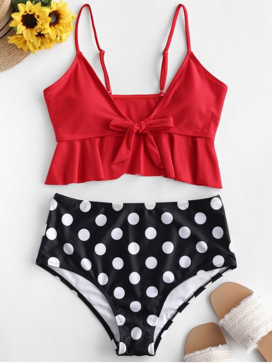 womens ZAFUL Flounce Tie Front Polka Dot Tankini Swimsuit - RUBY RED XL