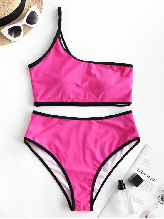 hot ZAFUL Contrast Binding One Shoulder Tankini Swimsuit - HOT PINK M
