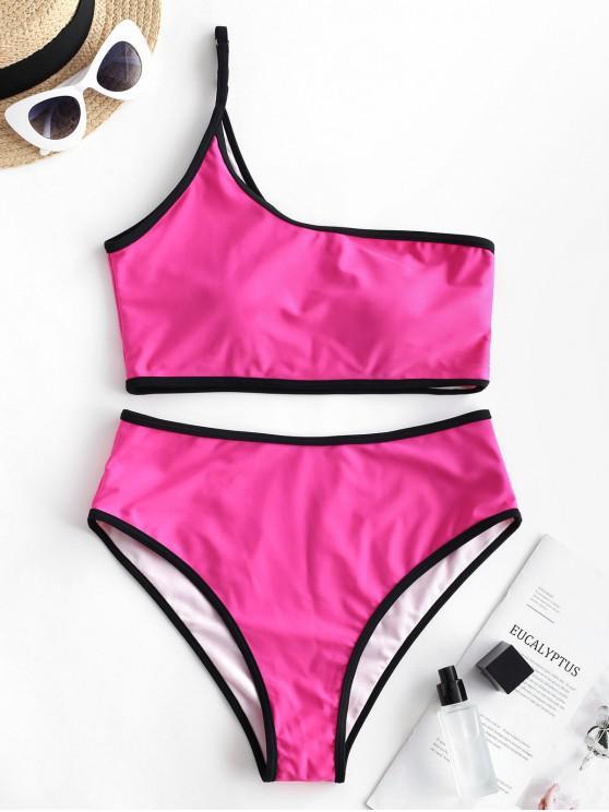 ZAFUL Kontrast- Bindung- Tankini-Badeanzug mit Einziger Schulter - Helles Rosa L