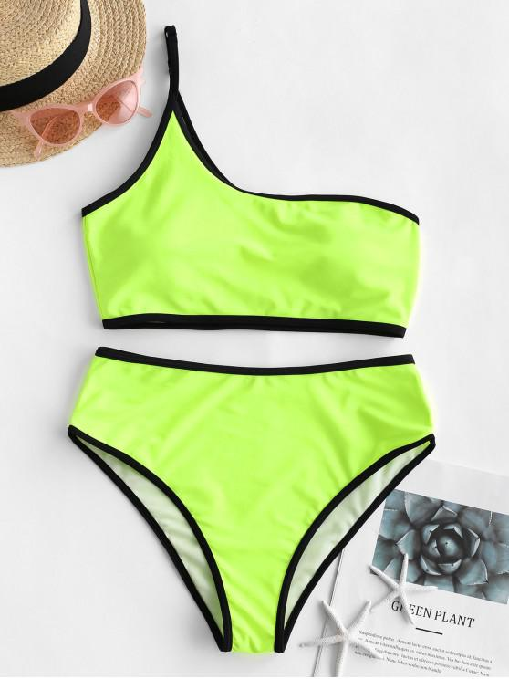 unique ZAFUL Contrast Binding One Shoulder Tankini Swimsuit - GREEN YELLOW M