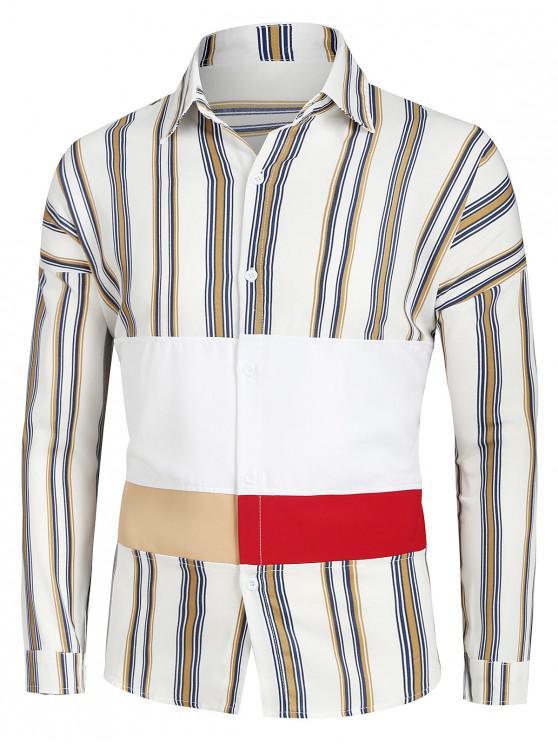 outfits Striped Drop Shoulder Button Up Patch Shirt - MULTI-A XL