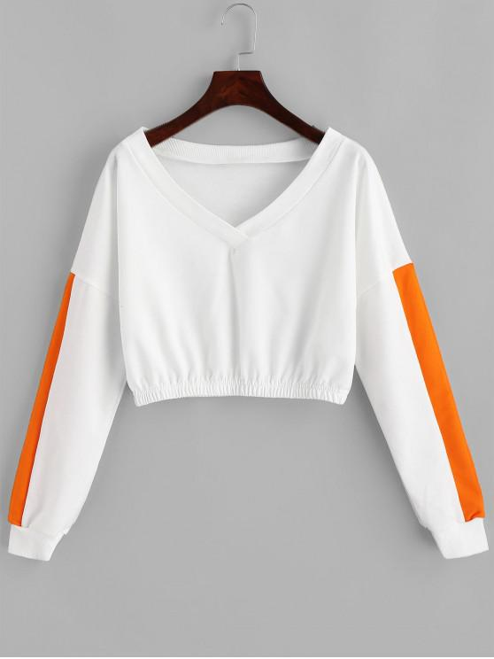 trendy V Neck Two Tone Cropped Sweatshirt - WHITE M