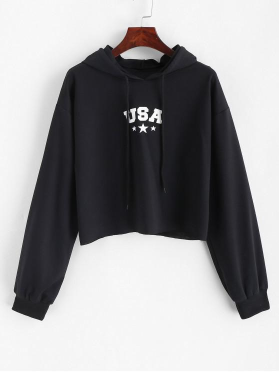 trendy ZAFUL Letter Graphic Crop Drawstring Hoodie - BLACK S
