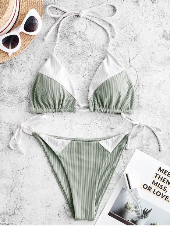 Bañador de bikini con cordón acanalado ZAFUL - Multicolor-A S