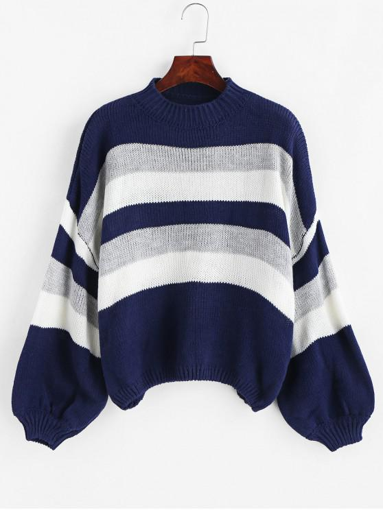 sale Lantern Sleeve Stripes Pullover Sweater - MULTI ONE SIZE
