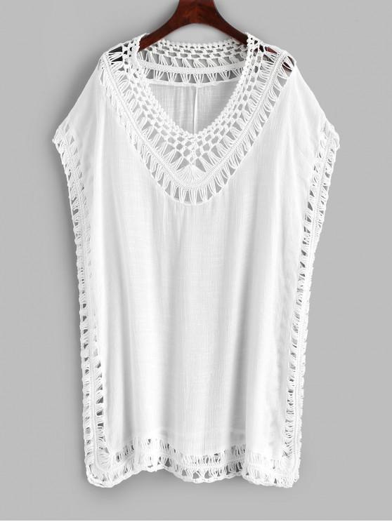 fashion Crochet Panel Beach Dress - WHITE ONE SIZE
