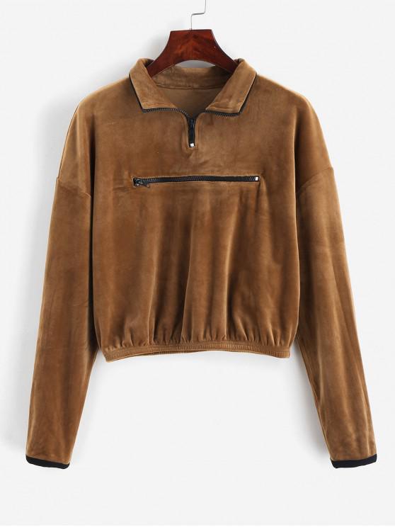 latest ZAFUL Drop Shoulder Zip Front Fleece Sweatshirt - LIGHT BROWN S