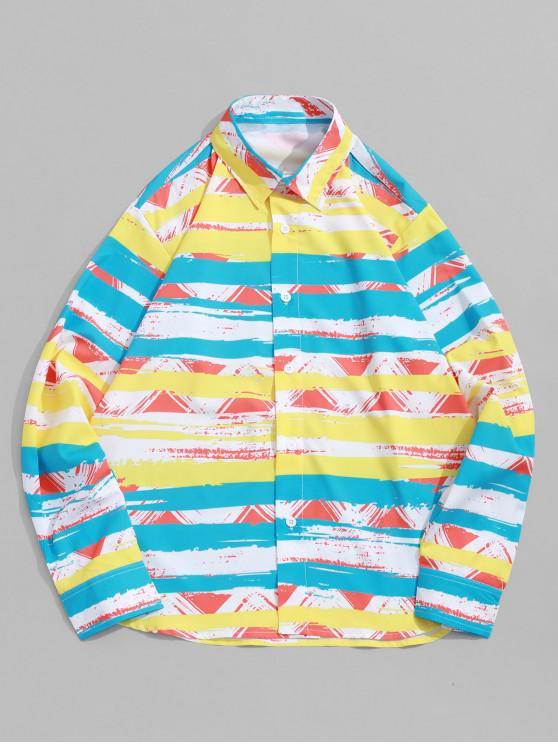 lady Color Block Striped Geometric Paint Print Vacation Shirt - MULTI-A S