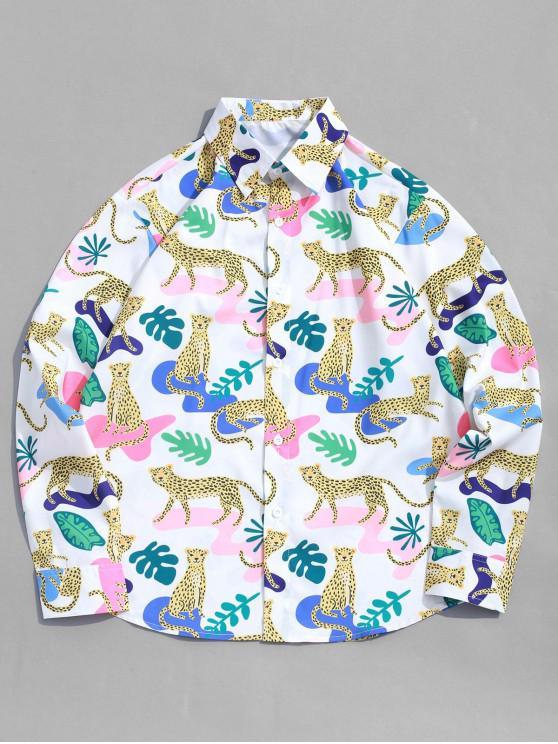 hot Leopard Plant Print Long Sleeve Vacation Shirt - MULTI S