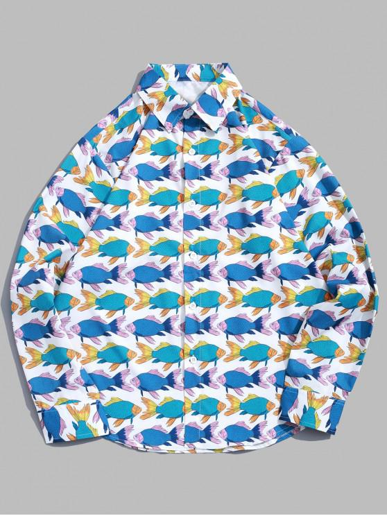 fancy Long Sleeve Fish Allover Print Beach Vacation Shirt - MULTI S
