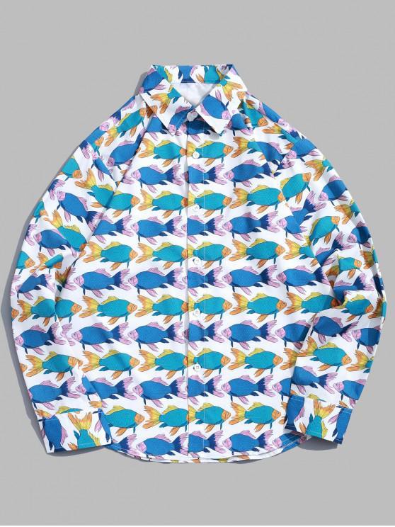 buy Long Sleeve Fish Allover Print Beach Vacation Shirt - MULTI M