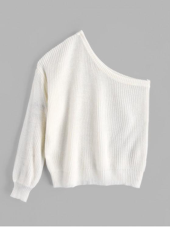 online ZAFUL One Shoulder Lantern Sleeves Solid Sweater - WHITE ONE SIZE