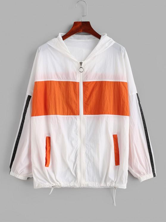 Zip Up Stripes Color Block Windbreaker Jacket - متعدد S