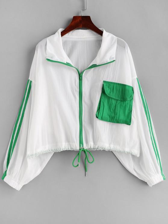 trendy Stripes Panel Flap Pocket Zip Up Jacket - MULTI S