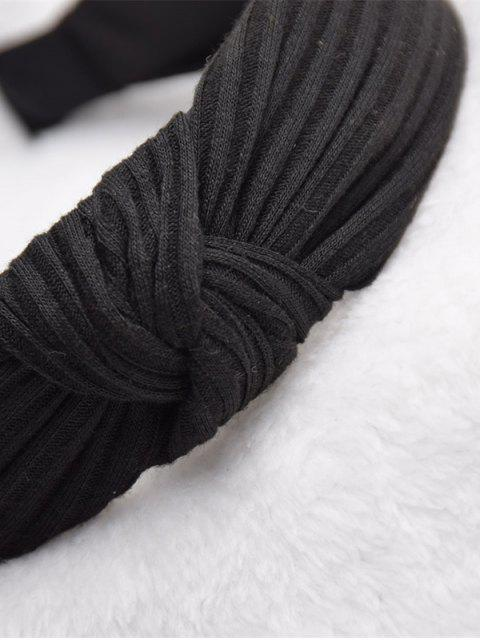 sale Striped Pattern Classic Solid Hairband - BLACK  Mobile