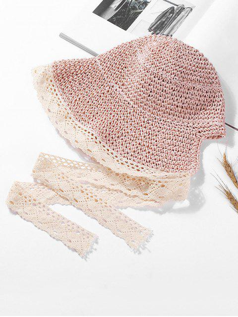 outfit Lace Ribbon Knitted Straw Sun Hat - SAKURA PINK  Mobile