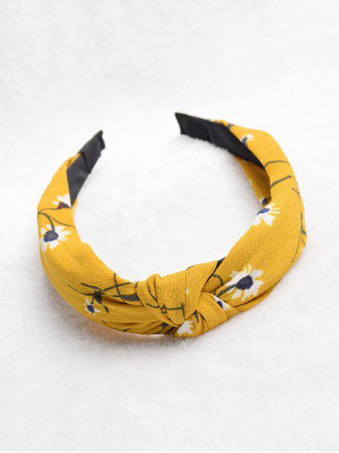 chic Knot Floral Print Wide Hairband - YELLOW  Mobile