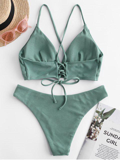 ZAFUL Maillot de Bain Bikini Côtelé à Bretelle à Lacets - Vert Tortue de Mer L Mobile