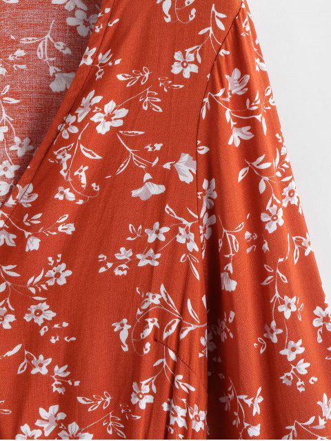 chic Flare Sleeve Floral Surplice Mini Dress - PAPAYA ORANGE L Mobile