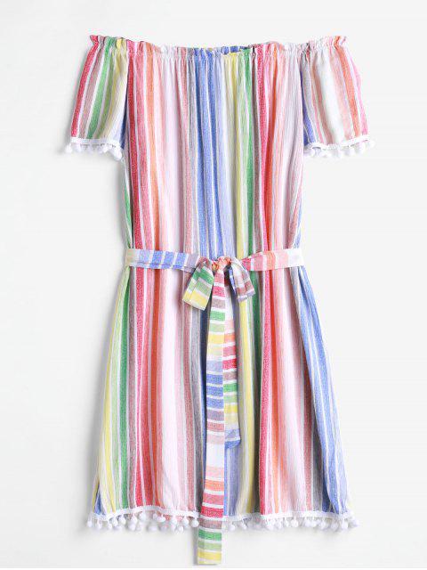 Vestido con cinturón y hombros descubiertos a rayas de pompón - Multicolor-A S Mobile
