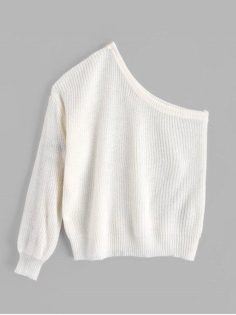 Suéter sólido con mangas de linterna de un hombro ZAFUL - Blanco Talla única Mobile