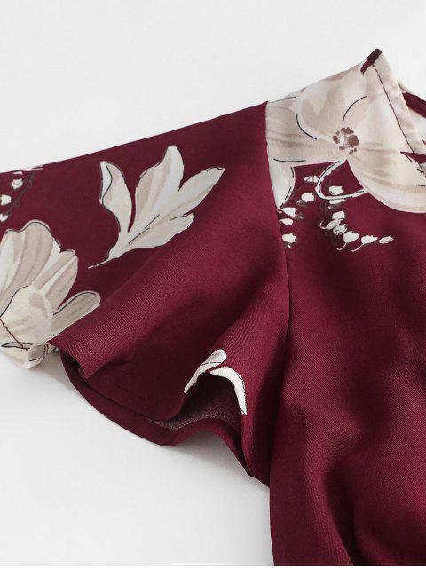 Conjunto de pantalones cortos ZAFUL con estampado floral y manga corta - Vino Tinto L Mobile