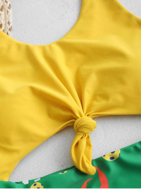 ZAFUL Принт бразильского флага С бантом Высокий вырез Слитный Купальник - Многоцветный-A S Mobile