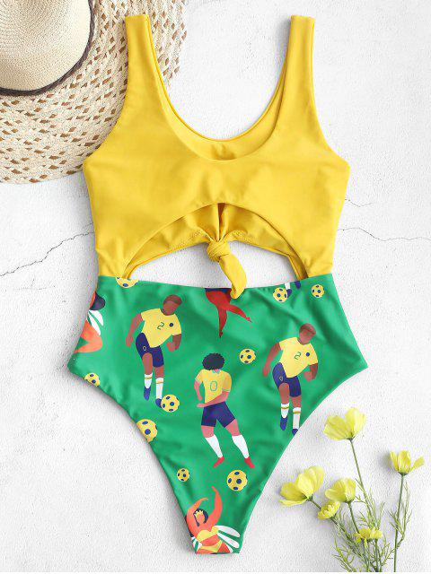 shops ZAFUL Brazilian Flag Knotted One-piece High Cut Swimsuit - MULTI-A XL Mobile