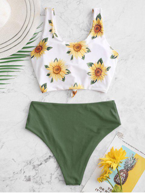 ZAFUL Sunflower Knot Reversible Tankini traje de baño - Verde Camuflaje XL Mobile