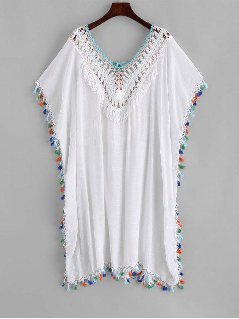 outfit Tassels Crochet Panel Beach Kaftan Dress - WHITE ONE SIZE Mobile