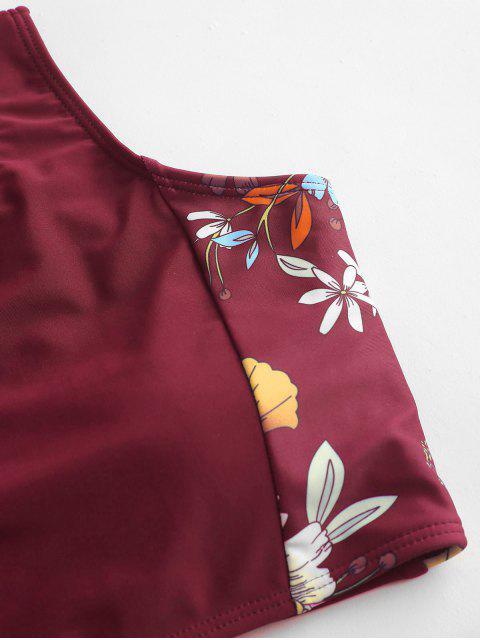 Bañador Tankini con cordones floral ZAFUL - Vino Tinto 2XL Mobile