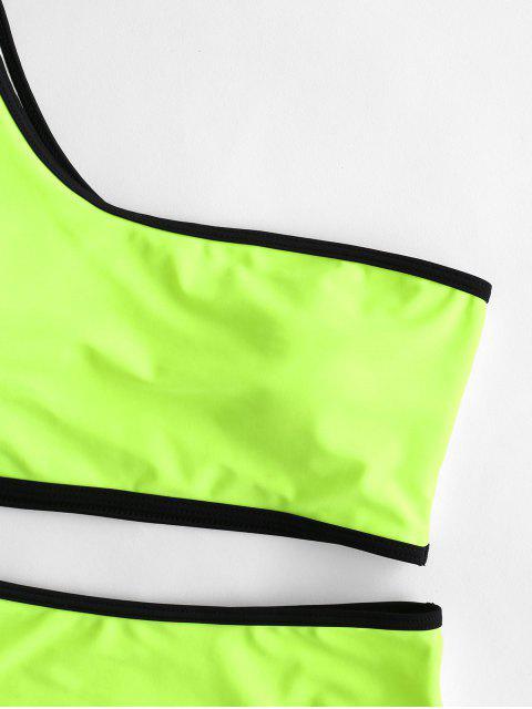 ZAFUL traje de baño Tankini de un hombro con ribete en contraste - Verde Amarillo L Mobile