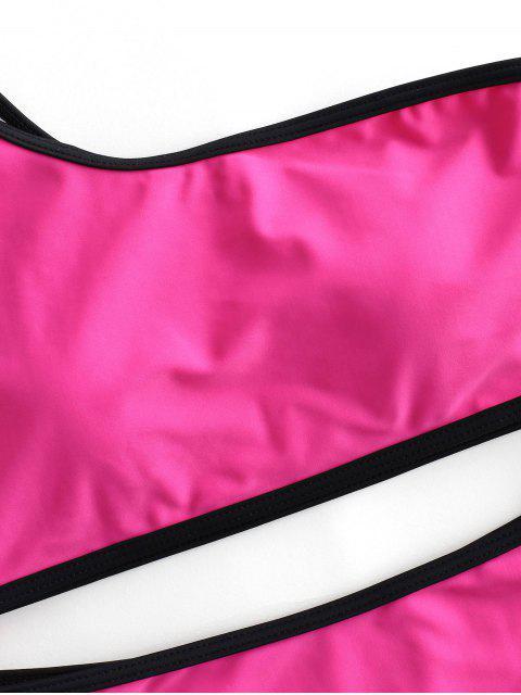 ZAFUL traje de baño Tankini de un hombro con ribete en contraste - Rosa Brillante L Mobile