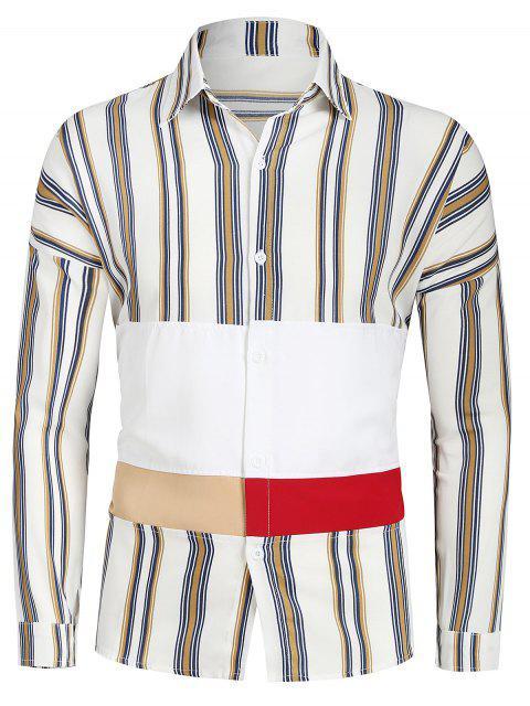 Gestreiftes, schulterfreies Hemd mit Knopfleiste - Multi-A M Mobile