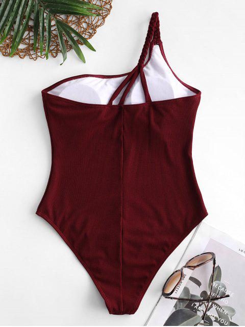 shop ZAFUL Ribbed Braided One Shoulder One-piece Swimsuit - RED WINE XL Mobile
