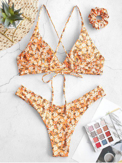 ZAFUL Costume da bagno bikini a incrocio floreale con fiocco - Giallo Luminoso S Mobile