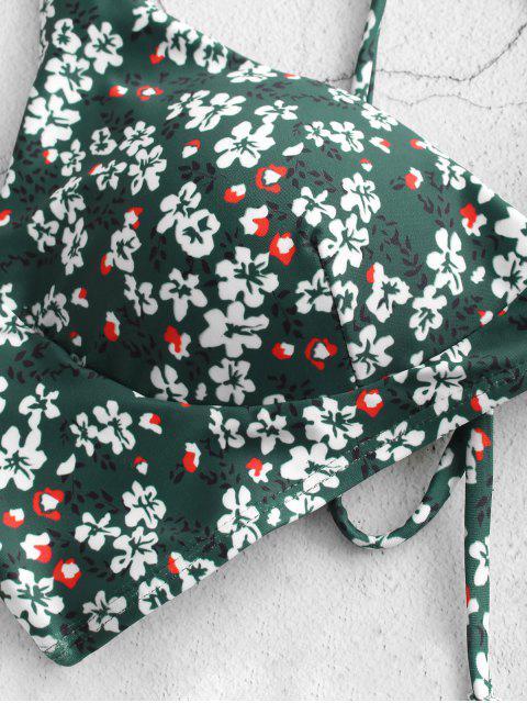 ZAFUL Biquíni de Cabelo Cruzado com Impressão Floral - Verde Médio do Mar S Mobile