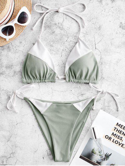 ZAFUL Maillot de Bain Bikini Côtelé à Cordon - Multi-A S Mobile